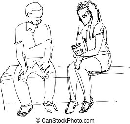 black and white sketch of man and woman on a bench - a black...