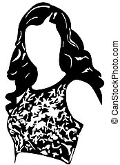 black and white vector sketch of an oval face girl