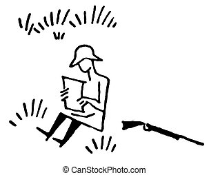 A black and white version of a cartoon style image of a hunter resting