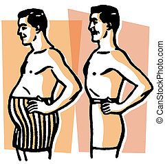 A black and white version of a comparison of body shapes