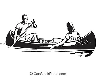 A black and white version of a couple in a canoe