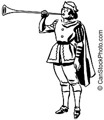 A black and white version of a drawing of a man in a renaissance era playing a horn or trumpet