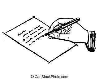 A black and white version of a drawing of a hand writing a...