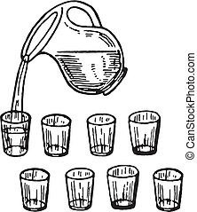 A black and white version of a glass jug pouring water into glasses