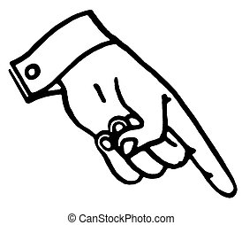 A black and white version of a hand pointing downward