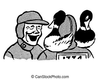 A black and white version of a jolly looking man enjoying a hunt