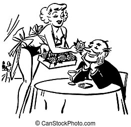 A black and white version of a vintage style drawing of a woman tempting a man with flowers