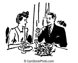 A black and white version of a vintage illustration of a couple enjoying a meal at a restaurant
