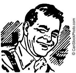 A black and white version of a vintage print of a happy man