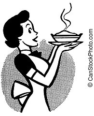 A black and white version of a vintage cartoon of a woman...
