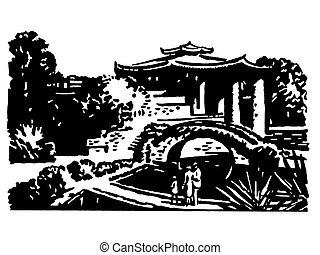A black and white version of a vintage illustration of Japanese gardens