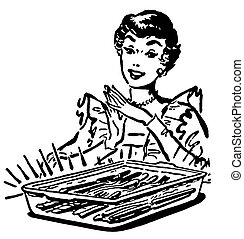 A black and white version of a vintage style illustration of a woman with a baking dish fresh from the oven