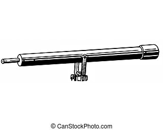 A black and white version of a vintage telescope