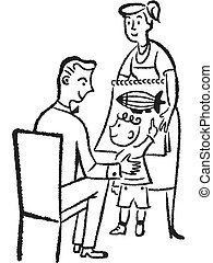A black and white version of a young child showing his father a drawing