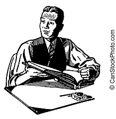 A black and white version of an illustration of a man reading at a writing desk