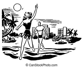 A black and white version of an illustration of a couple having fun in the sun on vacation