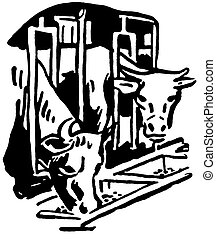 A black and white version of two bulls eating feed through a barn grill