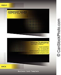 A black and yellow business card template