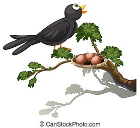 A black bird at the branch of a tree with a nest
