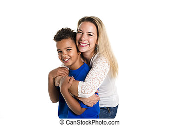 black boy with her mother, isolated on white background