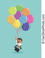 A black businessman flying with balloons Business idea concept. Vector