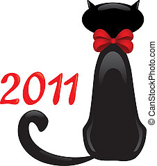 A Black Cat sitting with his back to you in red bow and 2011 near, vector illustration. Card for 2011 year - Cat year