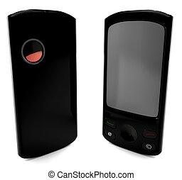 A black cellular phone isolated on white. 3D render