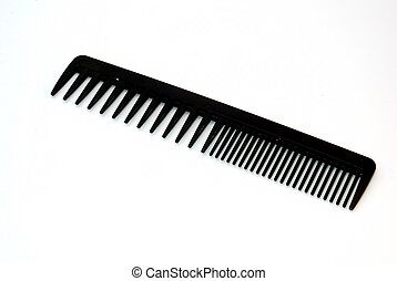a black comb isolated on a white background