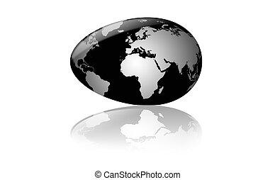 a black earth-globe as egg
