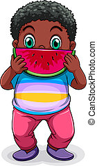 A Black fat man eating watermelon