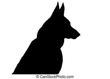 German Shepherd Silhouette - A black German Shepherd...