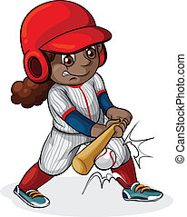 A Black girl playing baseball
