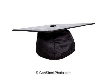 A Black graduation cap on white