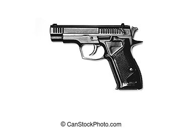 A black gun lies against a white background. Isolated. View from above. Close-up