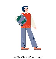 School male teacher in glasses and grey pants holds the globe in his arm. Education and learning concept. Isolated vector icon illustration on white background in cartoon style.