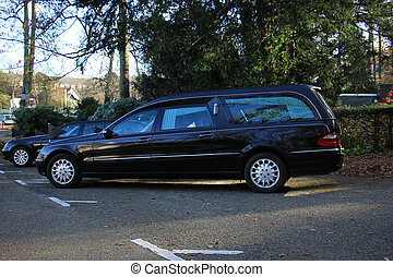 A black hearse