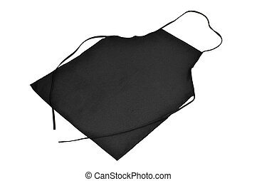 kitchen apron - a black kitchen apron on a white background