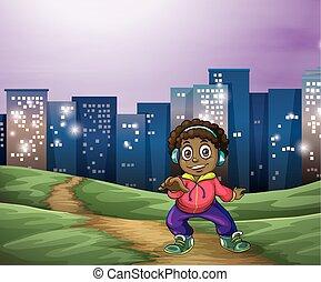 A Black man dancing across the tall buildings