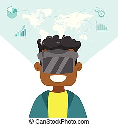 A black man in virtual reality headset. - A black man in...