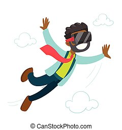 A black man in virtual reality headset flying in the air....