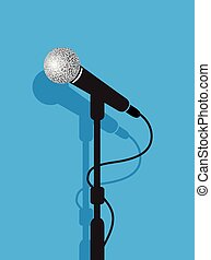 a black microphone stand on a blue