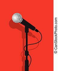 a black microphone stand on a red b