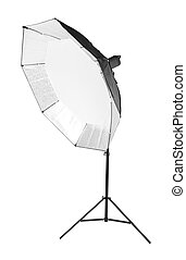 A black octobox in a form of umbrella isolated on a white background. Professional lightning. Photographic equipment.