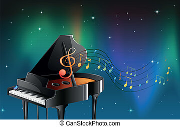 A black piano with musical notes