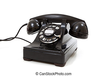 A black retro rotary phone on a white background