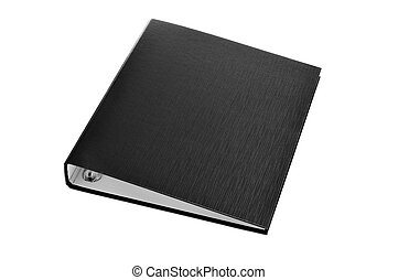 a black ring binder on a white background