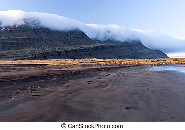 A black sand beach at low tide, Iceland