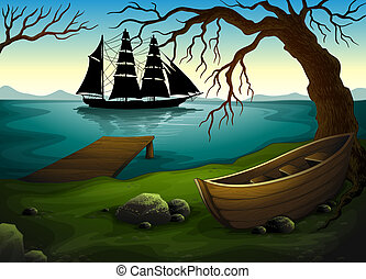 A black ship at the sea across the boat under the tree