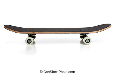 black skate board on a white background - A black skate...