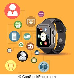 A black smart watch with time, call